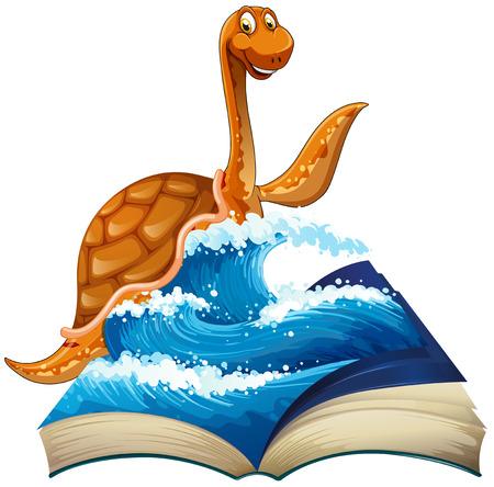 large turtle: Cute dinosaur in the sea illustration