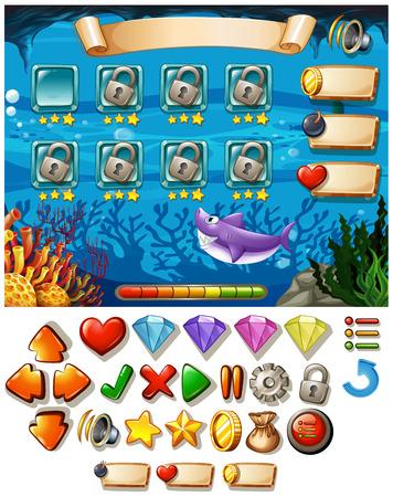 underwater scene: Game template with underwater scene illustration