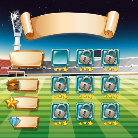 terrain foot: mod�le de jeu avec terrain de football illustration de fond Illustration