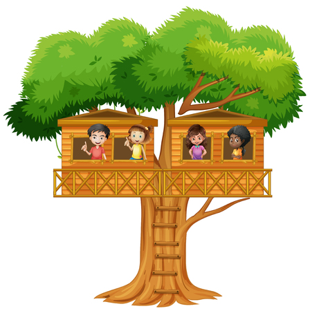 playhouse: Children playing in the treehouse illustration Illustration