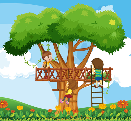 climbing up: Children climbing up the tree in the garden illustration