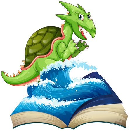 sea monster: Sea monster coming out of the book illustration