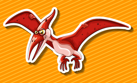 Dinosaur with wings flying illustration