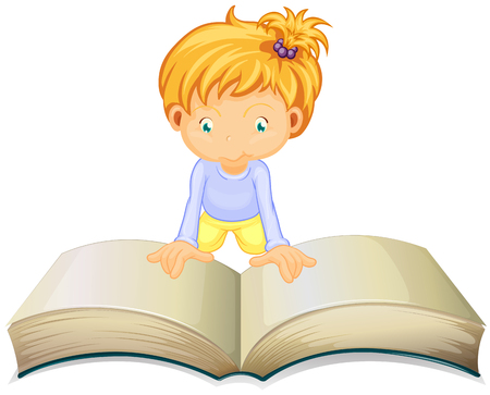 open book: Little girl reading from big book illustration