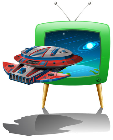 televisions: Spaceship flying in the space on TV illustration