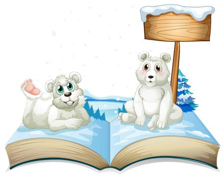 north pole: Book of two polar bears on snow illustration Illustration