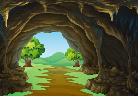 Nature scene of cave and trail illustration Çizim
