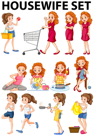 woman shopping cart: Housewife doing different activities illustration