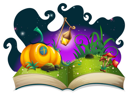 storybook: Storybook with pumpkin house at night illustration