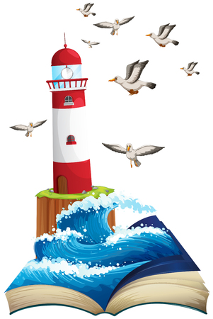 drawing dove: Lighthouse and seagulls at sea illustration