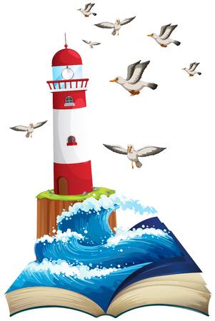 seagulls: Lighthouse and seagulls at sea illustration