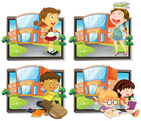 coming out: Four scenes of student at school illustration