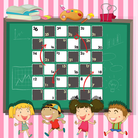 studying classroom: Game template with children in the classroom illustration Illustration