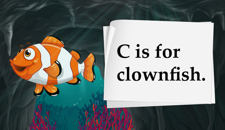 clownfish: Letter C is for clownfish illustration