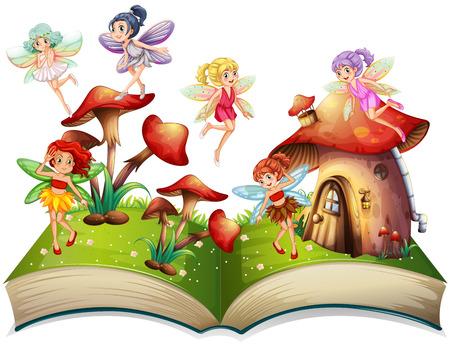Fadas que voam em torno da ilustração da casa do cogumelo