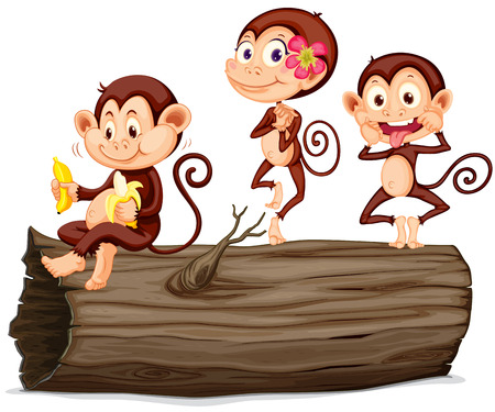 log: Three monkeys on the log illustration