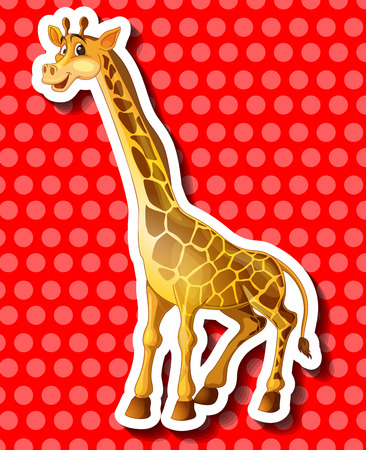long neck: Cute giraffe on red background illustration