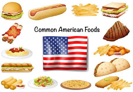 nuggets: Different common American food set illustration Illustration