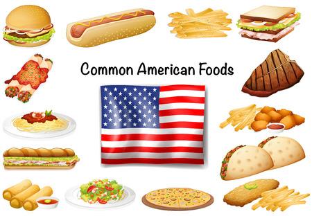 Verschiedene gemeinsame amerikanische Lebensmittel-Set Illustration Standard-Bild - 51244387