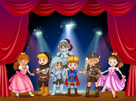 army girl: Stage play with children in costumes illustration