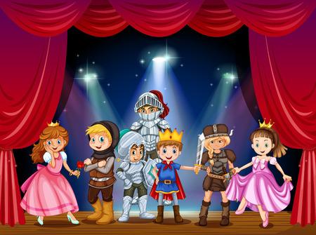 Toneelstuk met kinderen in kostuums illustratie Stock Illustratie