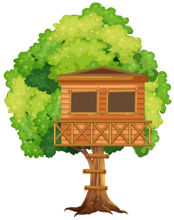 clip art: One treehouse in the tree illustration