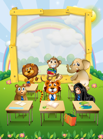 animal park: Border design with wild animals sitting in classroom illustration