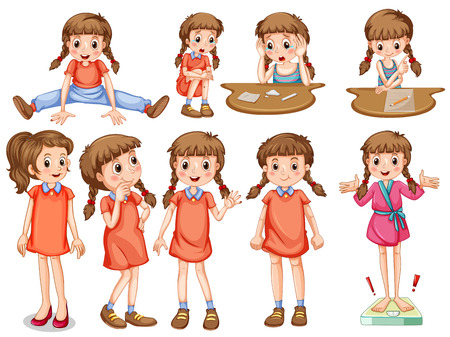 Little girl in different actions illustration  イラスト・ベクター素材