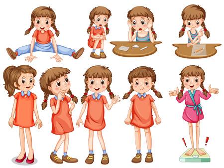 Little girl in different actions illustration Illustration