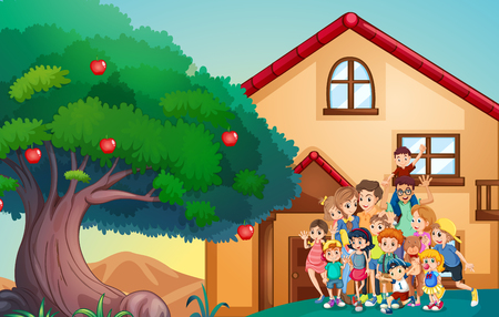 family members: Family members in front of the house illustration