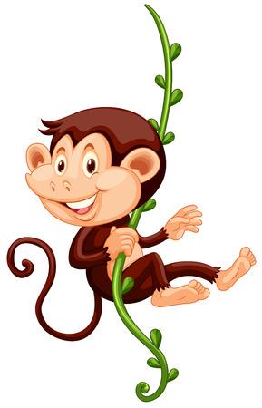 carnivorous: Little monkey climbing up the vine illustration Illustration