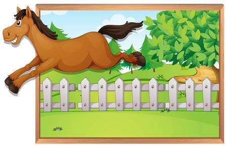 salto de valla: el salto del caballo marr�n sobre la valla de la ilustraci�n