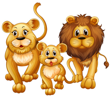 family picture: Lion on family with cute cub illustration