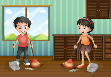 Boy and girl sweeping the floor illustration Çizim