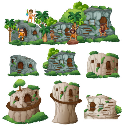 house clip art: Cavemen and houses in the mountain illustration
