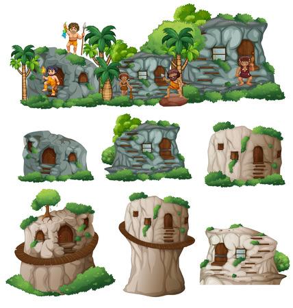 hombre prehistorico: Hombres de las cavernas y casas en la ilustración de montaña