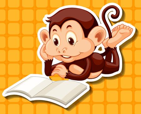 reading a book: Little monkey reading a book illustration Illustration