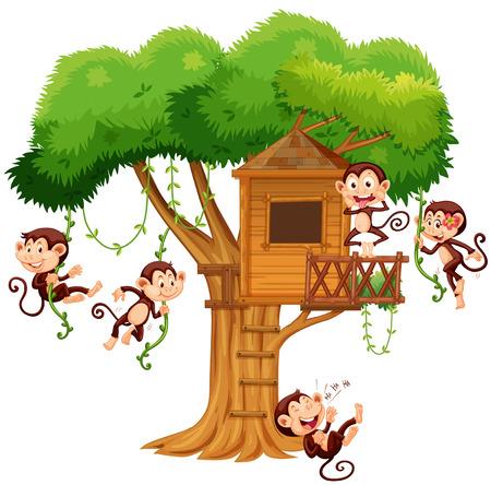 carnivorous: Monkeys playing at the treehouse illustration