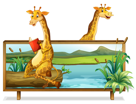 exiting: Two giraffe by the lake illustration Illustration