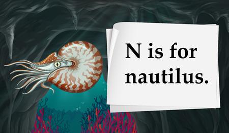 papier a lettre: Lettre N est pour illustration nautilus Illustration