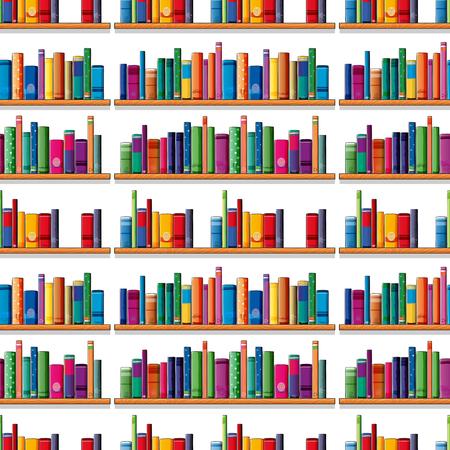 libros sin costura en la ilustración del estante