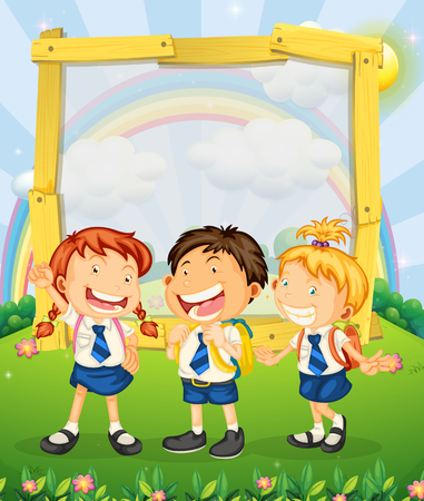 picture frame: Children in school uniform standing on the park illustration Illustration