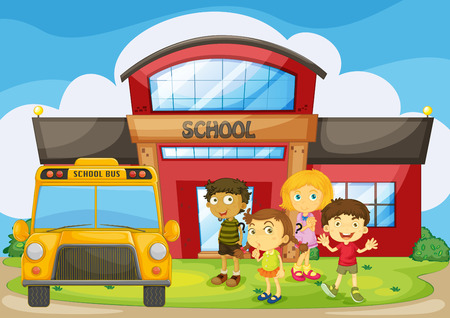 college girl: Children standing in the school campus illustration Illustration