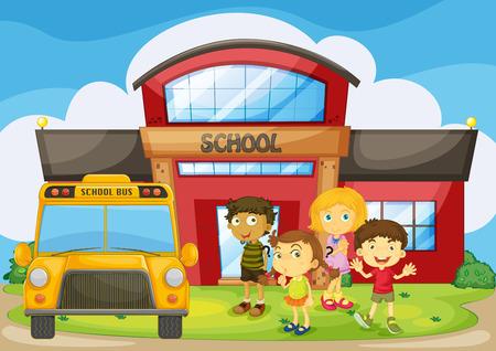campus: Children standing in the school campus illustration Illustration