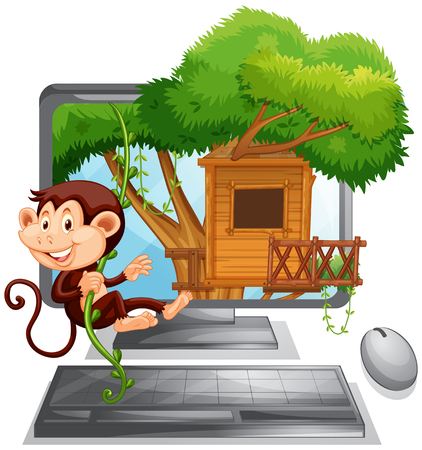 climbing up: Monkey climbing up the treehouse on computer screen illustration
