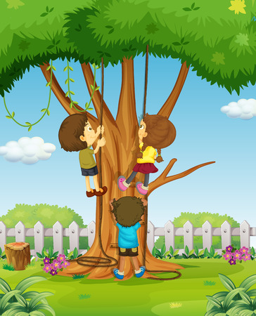 niño trepando: Los muchachos y una muchacha que suben hasta la ilustración del árbol Vectores