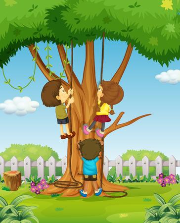 Boys and girl climbing up the tree illustration Illustration