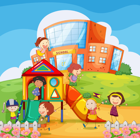 kids playing: Children playing in the school playground illustration