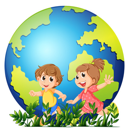 planet earth: Earth theme with boy and girl running illustration