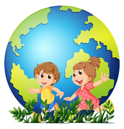 planeta tierra feliz: el tema de la tierra con el niño y niña de la ilustración